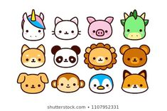Vector Set Cute Cartoon Animals Isolated Stock Vector (Royalty Free) 1107952331 Vector Set Cute Cartoon Animals Isolated Stock Vector (Royalty Free) Related Reasons It's Actually Better to Let Your Dog Sleep in. Cute Cartoon Drawings, Mini Drawings, Cute Kawaii Drawings, Cute Cartoon Animals, Cute Animal Drawings, Easy Drawings, Cute Animals, Kawaii Disney, Cute Doodle Art
