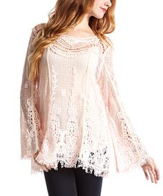 Another great find on #zulily! Pretty Angel Pink Crochet Linen-Blend Tunic by Pretty Angel #zulilyfinds
