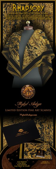 Mykel Ankyn Limited Edition Fine Art Designer Silk Scarves - Rhapsody - A beautiful scarf for the ballet, opera or house of worship.  A symphony of gold imitating sound and motion.  This design looks spectacular in all four silk materials below.