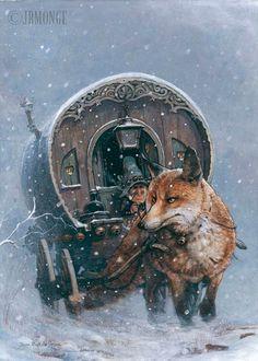 Fox Drawn Wagon by Jean-Baptiste Monge
