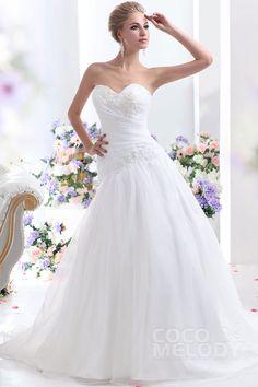 Divine+A-Line+Sweetheart+Dropped+Waist+Chapel+Train+Organza+Wedding+Dress+CWLT1300B+