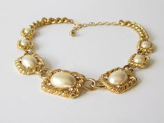 Trifari Pearl Necklace Gold Tone and Pearl with by artsix on Etsy