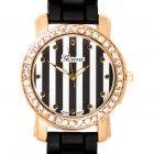 Geneva Black Silicone Striped Crystal Rhinestone Watch w/ Gold Case www.CrystalCase.com