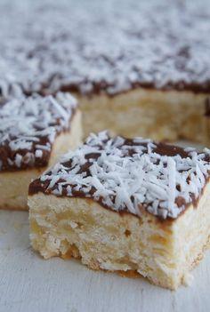 Lamington Slice - Nearly as good as lamingtons on their own. Baking Recipes, Cake Recipes, Dessert Recipes, Australian Food, Aussie Food, Australian Recipes, British Recipes, Good Food, Yummy Food