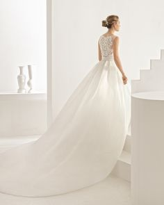 Classic tailored dress with beaded lace bodice, boat neckline and organza skirt with natural waist, in natural.