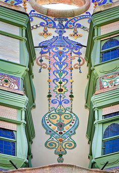 Casa Comalat (1911) Detail of facade decoration, Barcelona, Spain - architect Salvador Valeri i Pupurull Catalonia