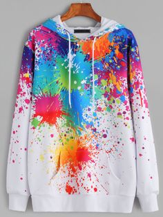 White Paint Splatter Print Drawstring Hooded Pocket Sweatshirt