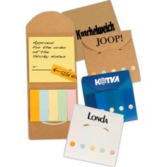"Impress both customers and employees alike when you give a gift that's practical and kind to the environment! This pocket sticky note caddy includes one 3"" x 3"" yellow sticky note pad and 5 assorted color flags. The natural caddy is made from recycled material and has a cardboard cover. Choose from 6 bold color options, add your custom imprint and hand them out at tradeshows and conferences. Great for teachers and writers as well!"