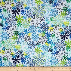 Kanvas Surf's Up Hula Flowers White from @fabricdotcom Designed by Maria Kalinowski of Kanvas for Benartex Fabrics, this cotton print is perfect for quilting, apparel and home decor accents. Colors include green, black, yellow, lime and teal on a white background.
