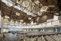 Inspo for future sanctuary but also textures, lighting and materials throughout the new spaces. Light and airy yet warm, earthy tones Grace Bible Church, Houston TX Church Interior Design, Church Stage Design, Church Architecture, Architecture Design, Auditorium Plan, Church Lobby, Church Foyer, Church Office, Modern Church