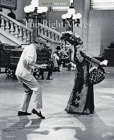 """Gene Kelly and Barbra Streisand on the set of """"Hello Dolly."""""""