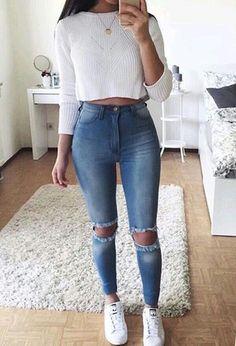 high waist jeans white crop long sleeve - accesories high waist jeans white crop long sleeve teen fashion that looks really trendy . Fashion Mode, Teen Fashion Outfits, Mode Outfits, Outfits For Teens, Fashion 2016, Trendy Fashion, Trendy Style, Party Outfits, Girl Fashion