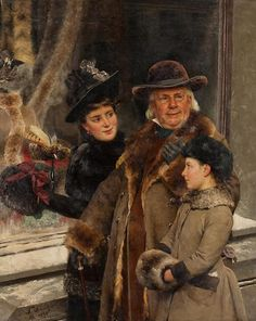 Von Dern Hutladen 1890 by German Painter  Fritz Schinitzler 1851 - 1920 http://joedonaghy65.blogspot.co.nz/2013_05_01_archive.html
