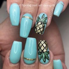 Cool Tropical Nails Designs for Summer ★ See more: naildesignsjourna. Cool Tropical Nails D Tropical Nail Designs, Cute Summer Nail Designs, Cute Summer Nails, Blue Nail Designs, Diy Nail Designs, Summer Design, Bright Nails For Summer, Acrylic Nail Designs For Summer, Tropical Nail Art