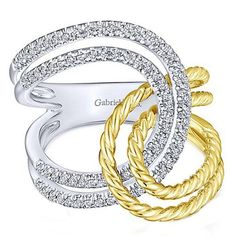 Two-Tone Gold Interlocking Right Hand Ring Featuring 0.35 CTW Diamonds with Rope Texture on the Yellow Gold Bands by Gabriel. Available at BenGarelick.com $1400.  https://www.bengarelick.com/products/gabriel-interlocking-loop-two-tone-14k-gold-diamond-ring