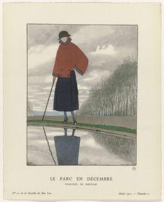 Gazette du Bon Ton, 1921 - No. 10 : Le parc en décembre / Tailleur, de Doeuillet, Anonymous, George Doeuillet, Lucien Vogel, 1921