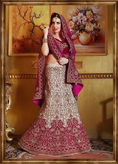 Beige Silk Semi-Stitched Lehenga Choli With Embroidered work.