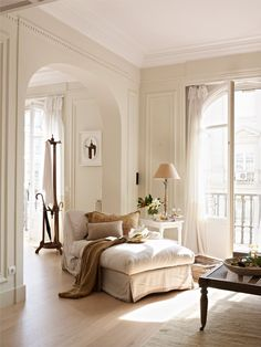 Cozy corner in sunwashed white and beige.