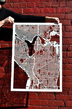 seattle hand cut map 22x30 от StudioKMO на Etsy