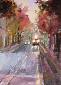 On Coming Acrylic 7 x 5 Urban Landscape of Portland, painting by artist John K. Harrell