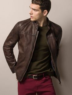 TOP STITCHED NAPPA LEATHER JACKET - Leather jackets - MEN - España (Excepto Canarias)/Spain (except the Canary Islands)