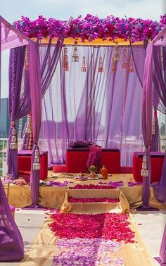 Wedding ideas inspiration party pinterest bridal lehenga want a daytime outdoor wedding go for a bright color combination of orange purple yellow pink contact bharat kiraya bhandar to make your d day venue junglespirit Image collections