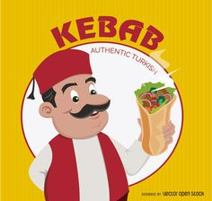 Funny Turkish chef with Kebab Sandwich over yellow background. Kebab Logo round circle in the back. Under Commons Attribution Li Turkish Chef, Turkish Doner, Turkish Design, Kebab, Round Logo, Black Horses, Picture Logo, Logo Food, Yellow Background