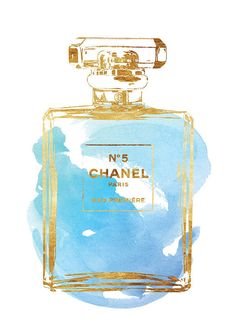 Chanel Chance watercolor art print in blue, gold effect, 16x20 inches Blue Peony…