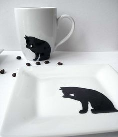 Black Cat Coffee Mugs4 Piece Collection by MaryElizabethArts