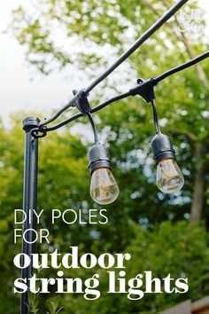 Try Out This Permanent Solution for Your Patio String Lights - Lighting Ceiling - Ideas of Lighting Ceiling - string lights attached to black light pole Bistro Lights, Backyard Lighting, Lights In Backyard, Patio Lighting Ideas Diy, Outside Lights On House, Outside Lighting Ideas, Lighting For Gardens, Diy Exterior Lighting, Pergola With Lights