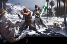 Two Jedis or Force adepts fending off some local wildlife that are attracted to the colorful glowing lights Cover art for the new Star Wars RPG game whi. Star Wars: Force and Destiny Beginner Game Star Wars Jedi, Star Wars Rpg, Star Trek, Cyberpunk, Star Wars Characters Pictures, Star Wars Painting, Star Wars Books, Jedi Sith, Jedi Armor