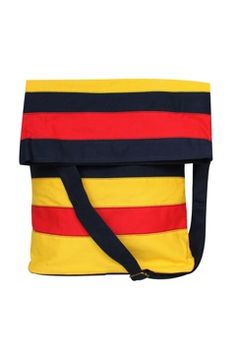 Milloe Messenger Bag In Yellow Red and Navy. $88.00