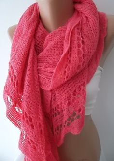 Pink Shawl Scarf Neck warmers Knitting by ElegantScarfStore,