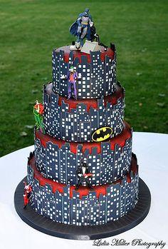 A Batman-Gotham City Wedding Cake