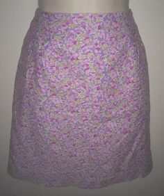 Lilly Pulitzer Flower Purple Pink Lined Cotton Skirt #LillyPulitzer #Mini