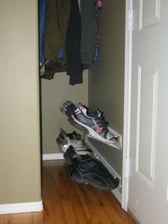 Floating Shoe Rack-  this is genius!  We have a bazillion pairs of shoes and a VERY SMALL bedroom!