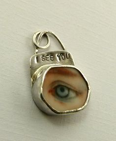 Robin Wade - I See You pendant - Upcycled Sterling Silver And Ceramic