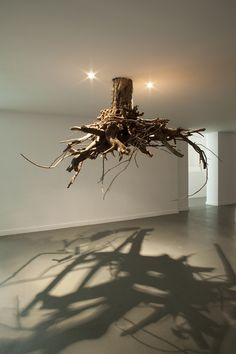 """Rotterdam-based Sicilian artist Giuseppe Licari presents a network of tree roots hanging from the ceiling like unusual, organic chandeliers. His site-specific installation titled Humus features the extended prickly roots of trees affixed to the top of his exhibition space, transforming the room into a sort of underground lair. It's as though visitors are getting an exclusive peek at the hidden world beneath a park or forest."""