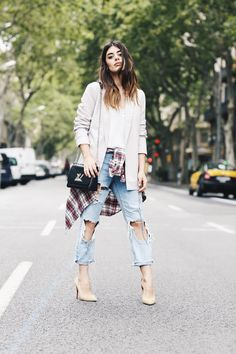 0e049719eadb Aida Domenech + classic spring style + destroyed faded denim jeans + white  tee + cute plaid shirt + ultimate  boyfriend  look + Add some glam + heels  + ...