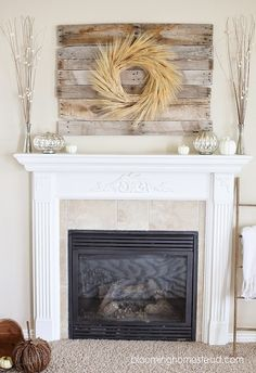 Beautiful Fall Mantel By Marie From The Blooming Homestead