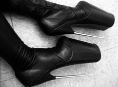 these boots are NOT made for walking! Platform High Heels, Platform Boots, High Heel Boots, Heeled Boots, Shoe Boots, Crazy Heels, Gothic, Ballet Heels, Extreme High Heels