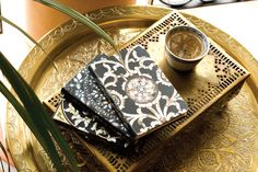 Intricate Inlays journals by Paperblanks; over tea.