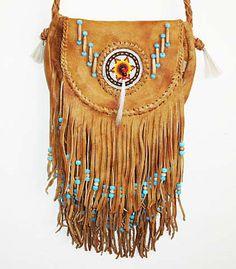 SOUTHWEST INDIAN SADDLE BAG LEATHER PURSE W BEADS & HIPPIE STYLE FRINGE #Handmade #ShoulderBag