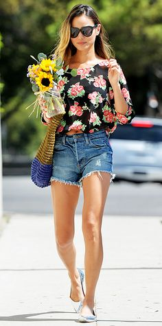 Jamie Chung picked up flowers at the local market in a vintage rose print wrap-back Guess top and high-rise Guess denim cut-offs, complete with color-blocked tote and silver metallic Loeffler Randall flats.