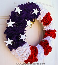 Make these 10 gorgeous yet easy patriotic wreath that will brighten up your home, perfect for Memorial Day, of July, and other patriotic holidays. Patriotic Crafts, Patriotic Wreath, July Crafts, Patriotic Decorations, 4th Of July Wreath, Holiday Decorations, Americana Crafts, Outdoor Decorations, Room Decorations