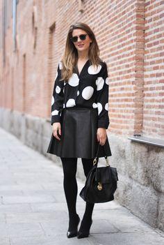 IMG_0810 Clochet dotted shirt leather skirt