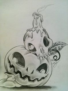 pumpkin and skull candle by lilmrsfrankenstein.deviantart.com on @deviantART
