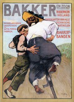 Nederland fietsland - Willy Sluiter - reclame poster