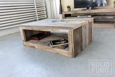 """Solid Furn's coffee table """"Albany"""" is a rectangular coffee table that's made from used scaffold planks and is perfectly suited for indoor use.The interior frame has mitered corners, giving this beautiful coffee table a really sleek appearance. Online ordering soon at www.solidfurn.com"""