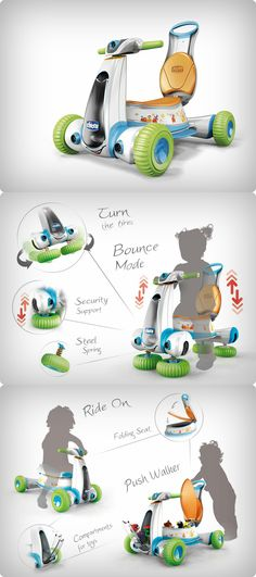 The Chicco Ride On is a scooter of sorts designed for kids between the ages of 1 and 4. Read More at Yanko Design